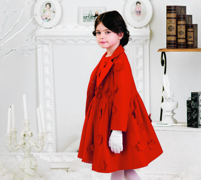 Red premium virgin wool coat with laser cut flowers from Love Made Love