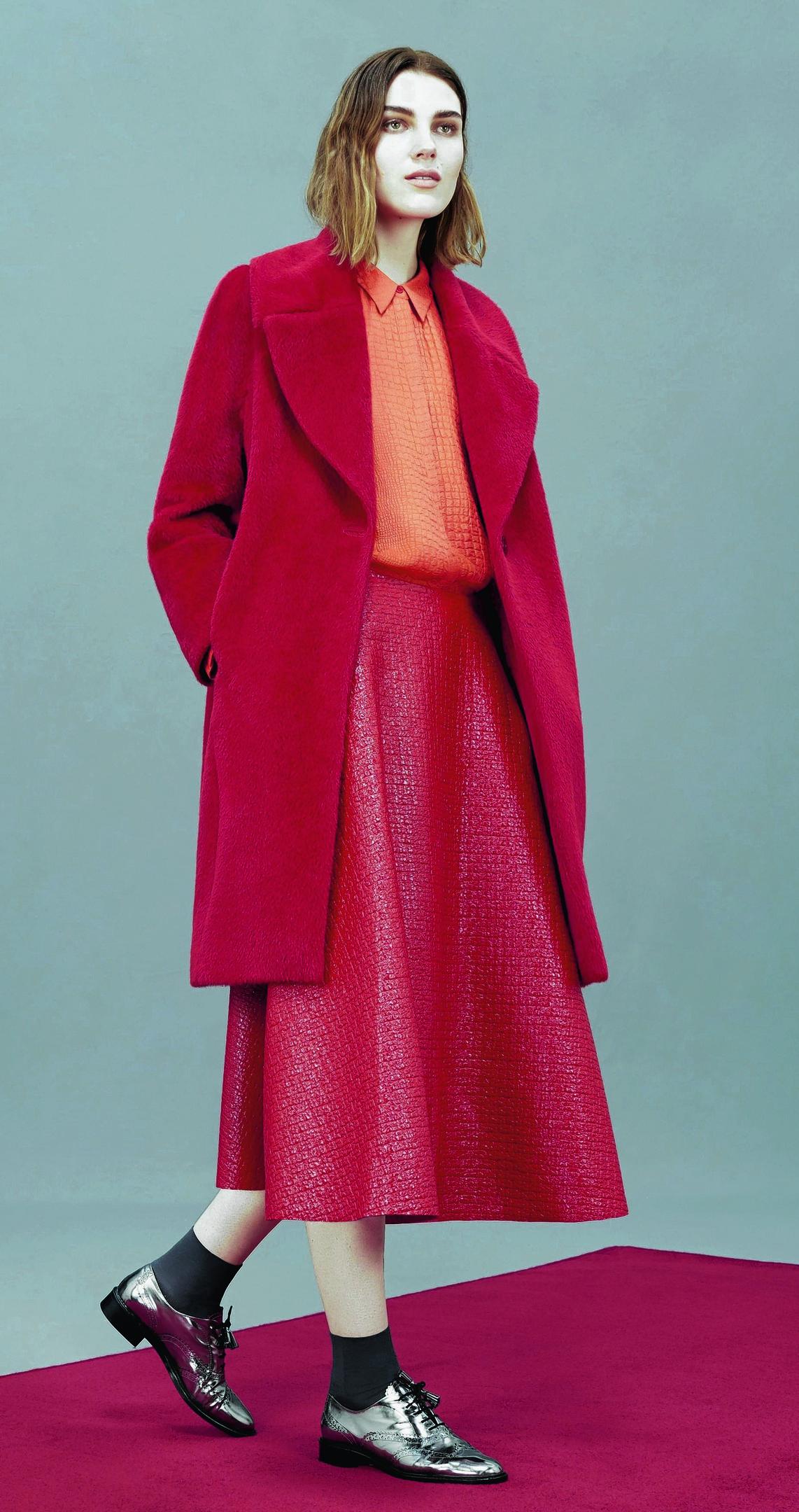 Teddy coat,£499; animal jacquard shirt, £119; laminated tweed skirt, £169; Agatha brogues, £179; all Hobbs