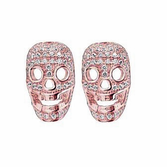 Vegas crystal sterling silver skull rose earrings, £87, from Tresor Paris, available from Ernest Jones and Beaverbrooks