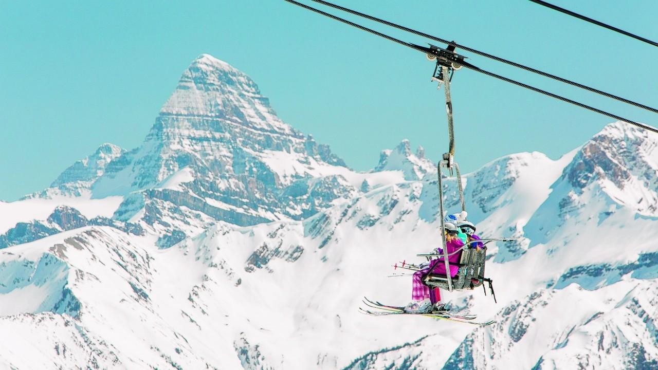 Skiers in Sunshine Village Ski Resort, Banff