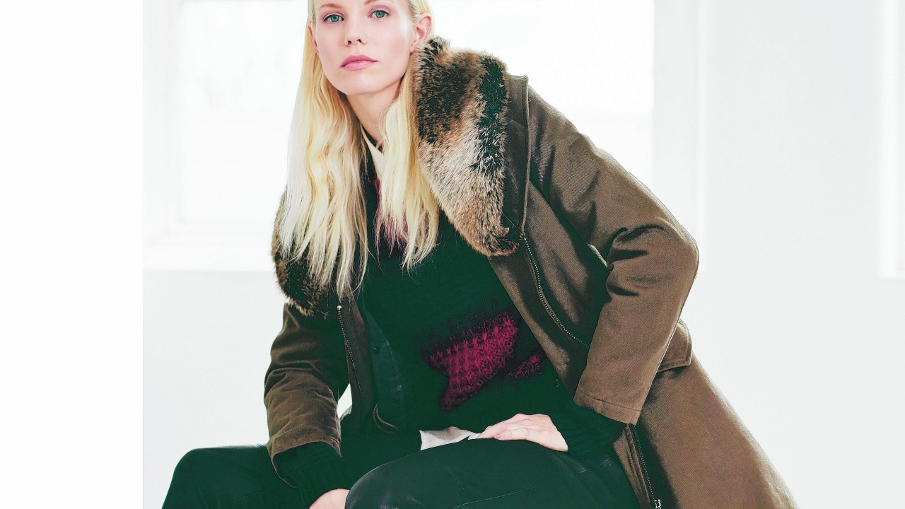 Faux fur collar parka, £249; ombre sweater, £98; drape shirt, £89; leather trousers, £85; all Jigsaw