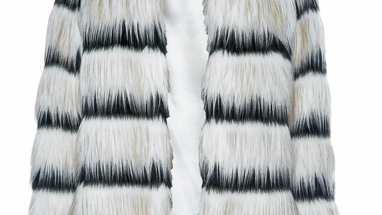 Primark shaggy stripe faux fur coat, £30