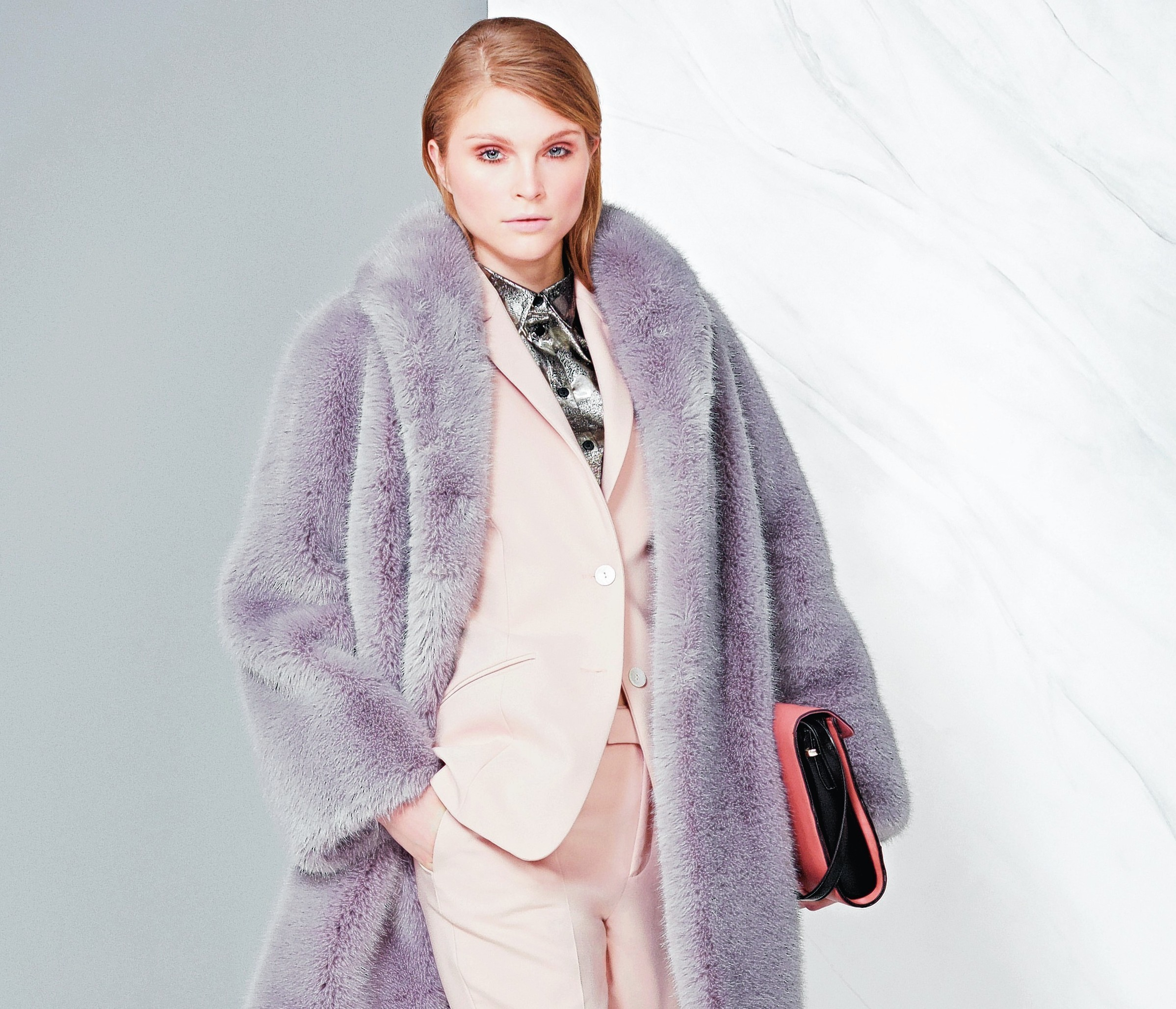 Twiggy faux fur coat, £99; Limited jacket, £59; Limited trousers, £39.50; Limited shirt, £35; bag, £29.50; all Marks & Spencer