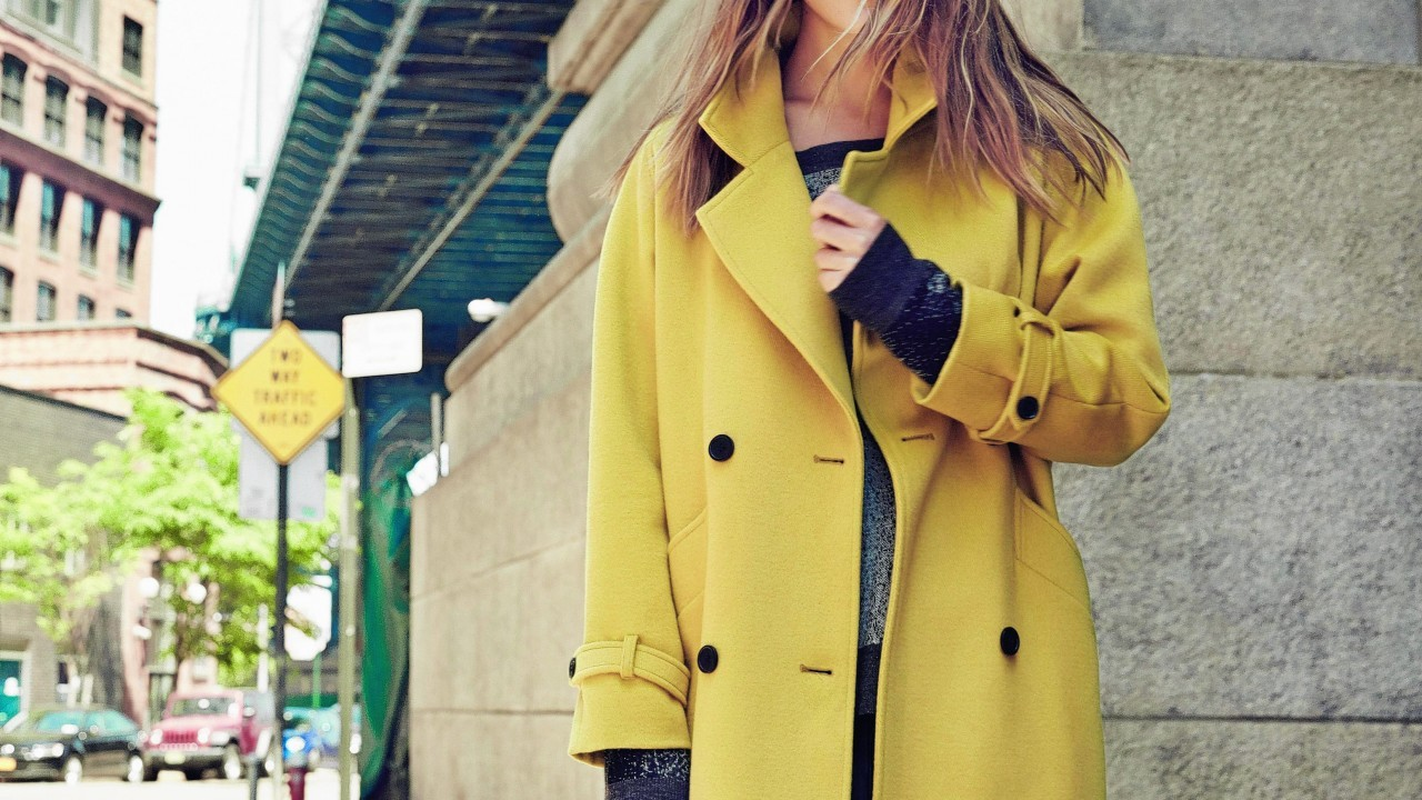 Chartreuse double breasted boyfriend coat, £169; Pied a Terre for House of Fraser