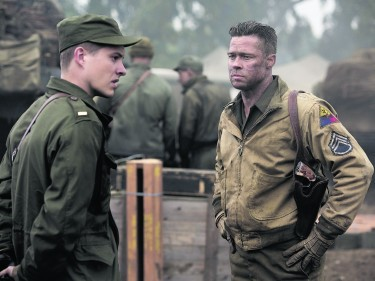 Lieutenant Parker (Xavier Samuel) and Wardaddy (Brad Pitt)