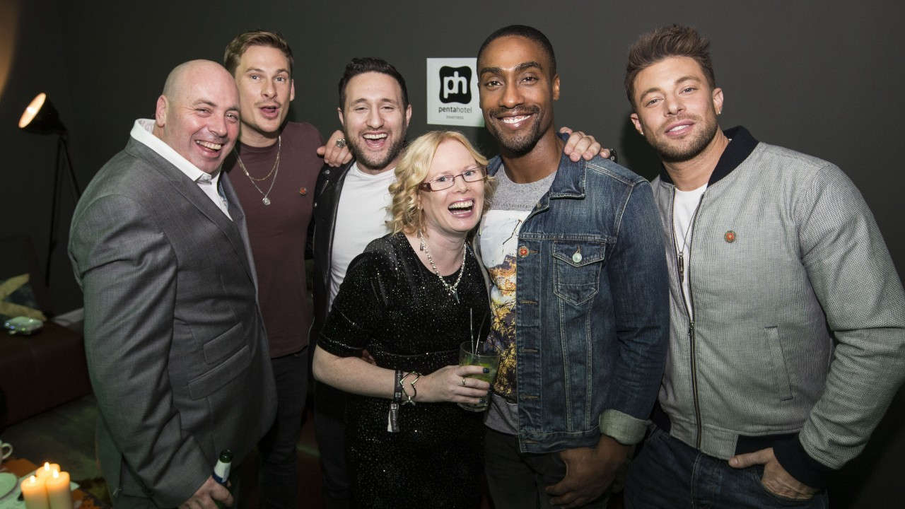 Competition winners Mark and Yvonne Banks with Boy Band Blue