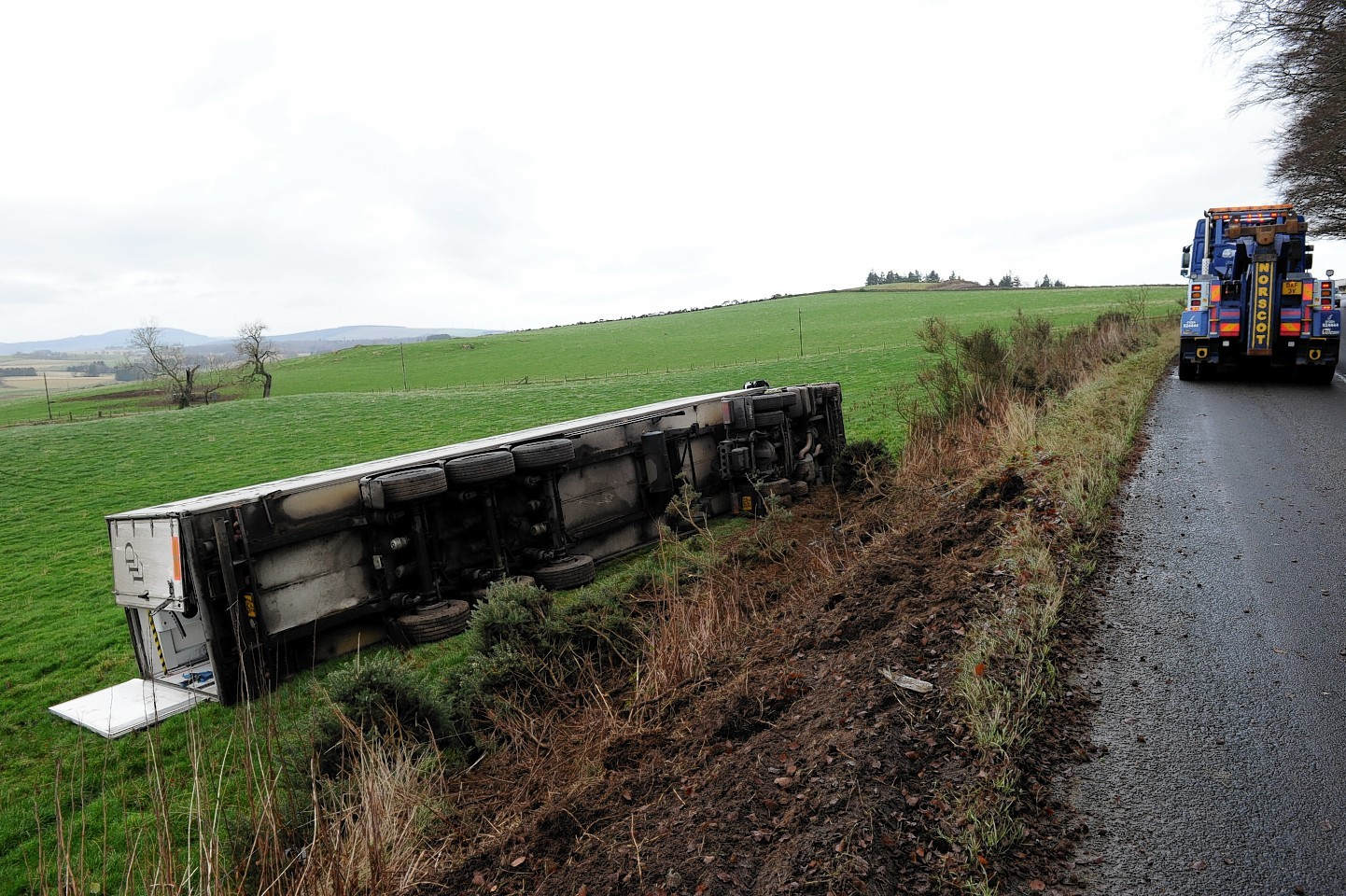 The crashed lorry on the B9001