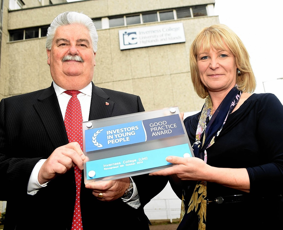 Diane Rawlinson, chief executive and principal of Inverness College UHI with Jim Oag, director of Highlands and Islands Services at Investors in People.