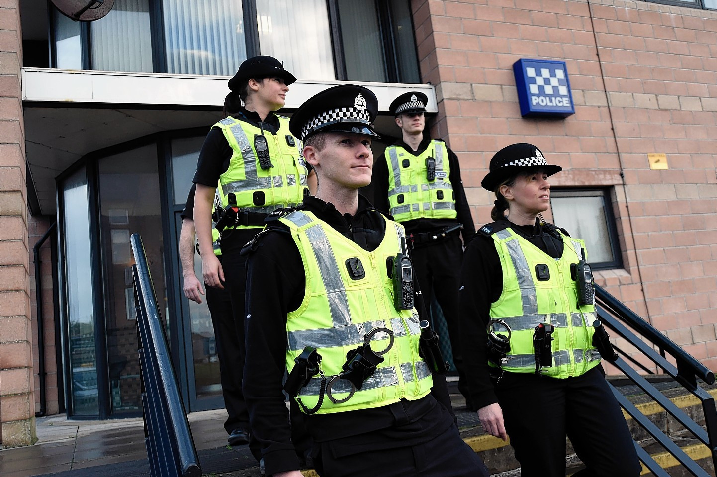 Officers at Fraserburgh Police Station taking part in the Domestic Abuse Day of Action