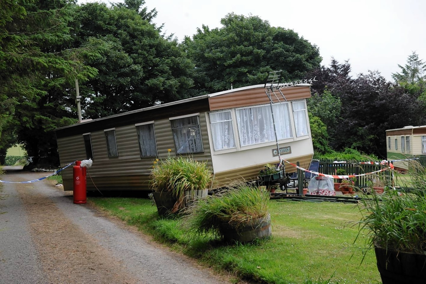 The scene of the accident at East Balthangie Caravan Park