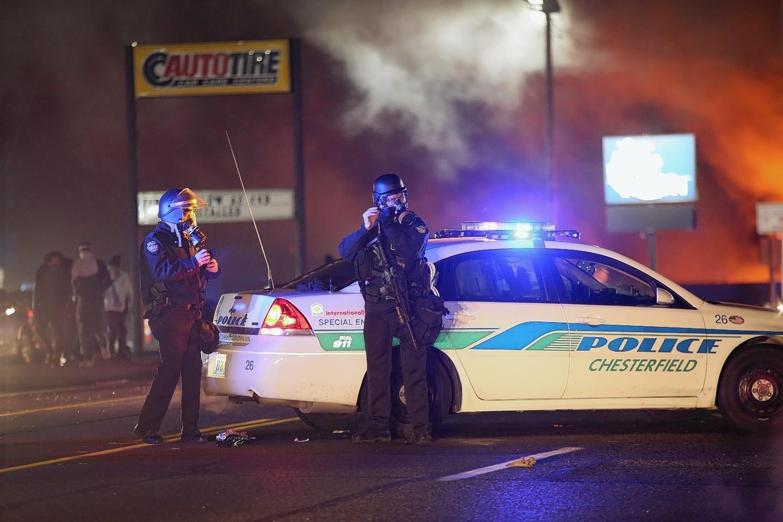 Police officers in Ferguson.