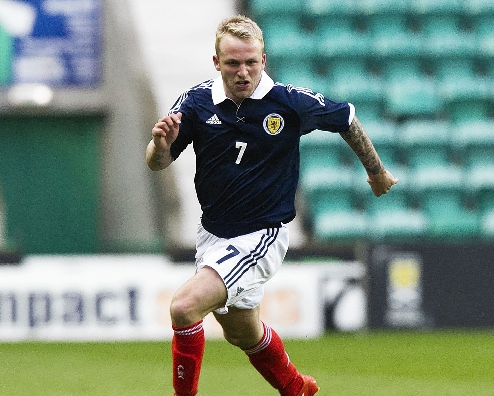 Johnny Russell in action for the Scotland under-21s