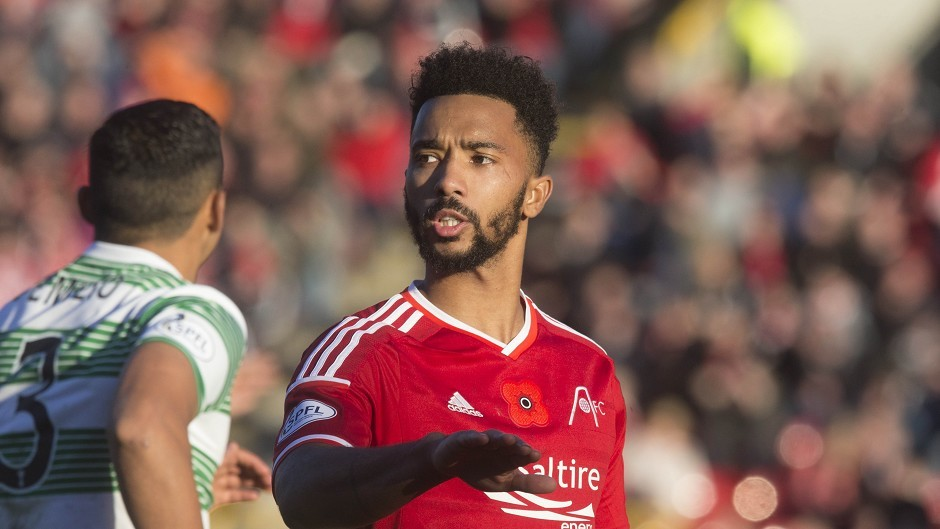 Aberdeen's Shay Logan was red-carded after Sunday's game against Celtic