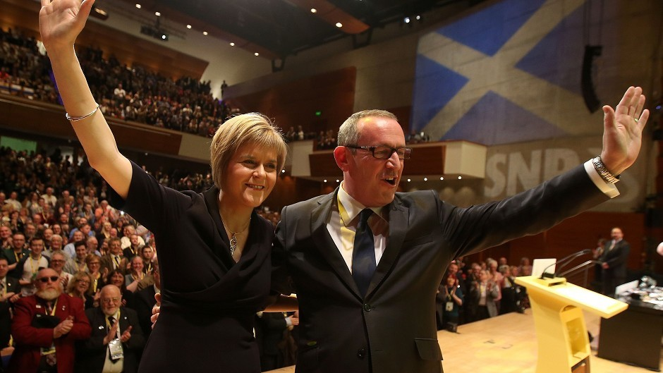 New SNP leader Nicola Sturgeon and new depute leader Stewart Hosie after being voted in at the SNP annual conference at Perth Concert Hall