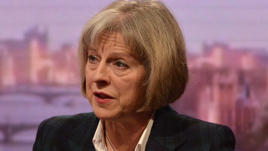 Theresa May appears on the Andrew Marr Show (file pic)