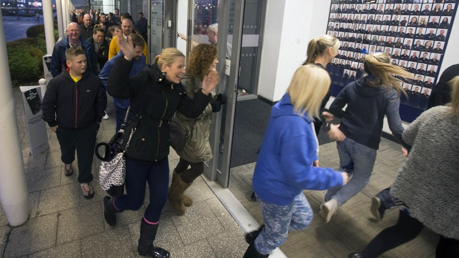 Shoppers entering Currys PC World at Braehead Shopping Centre as police had to be called to manage crowds in supermarkets on Black Friday (Braehead Shopping Centre/PA)