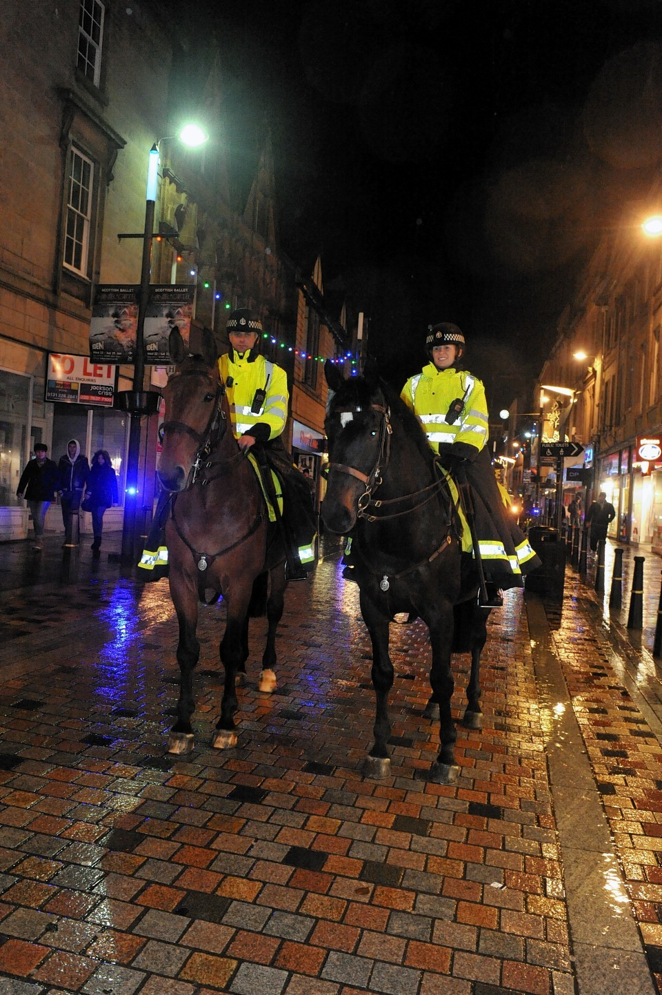 Police horses in Inverness city centre last year
