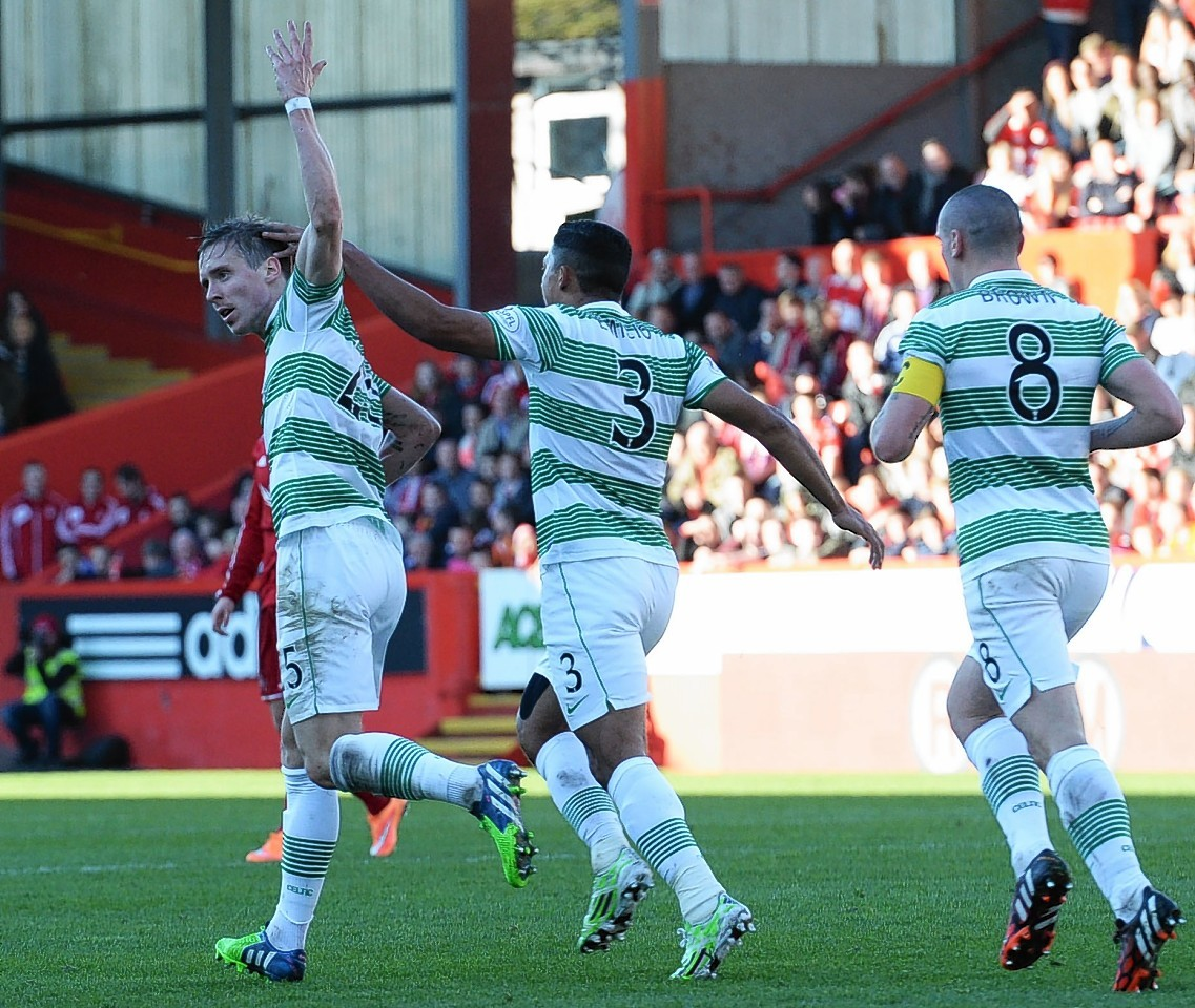 Stefan Johansen celebrates his equaliser