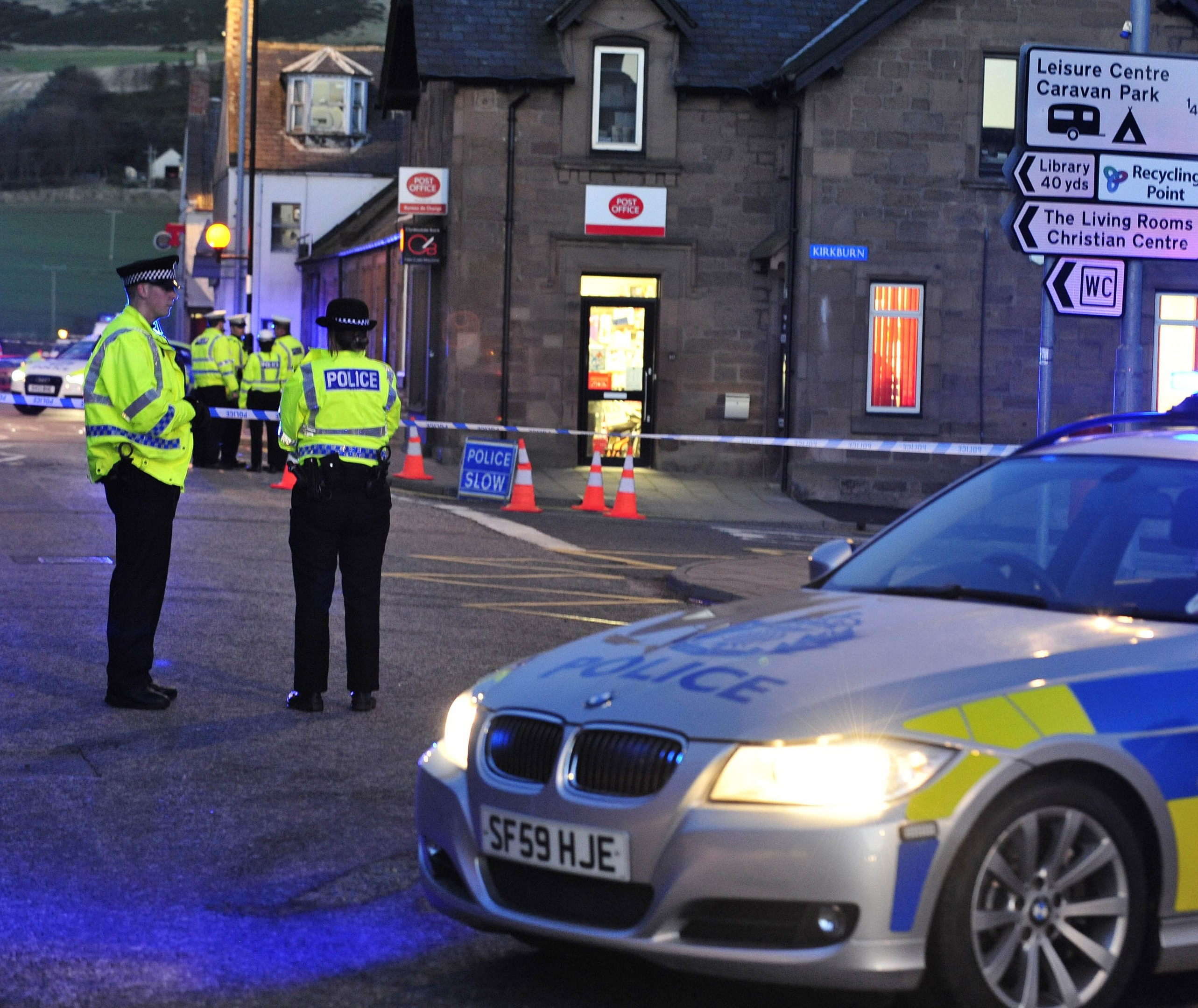 Emergency services at the scene in Inverbervie