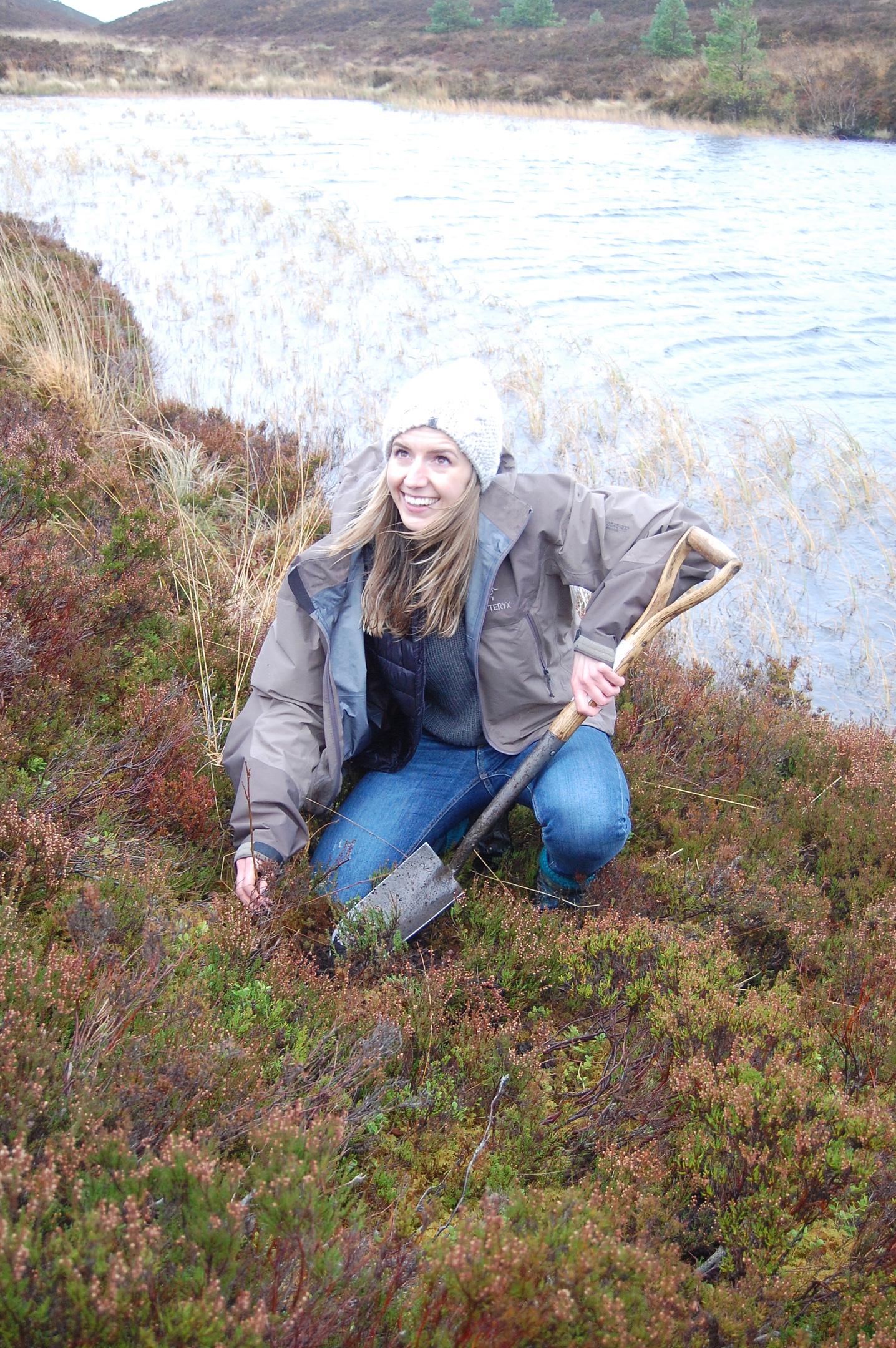 Jacqui Walker planting an aspen tree at Abernethy nature reserve