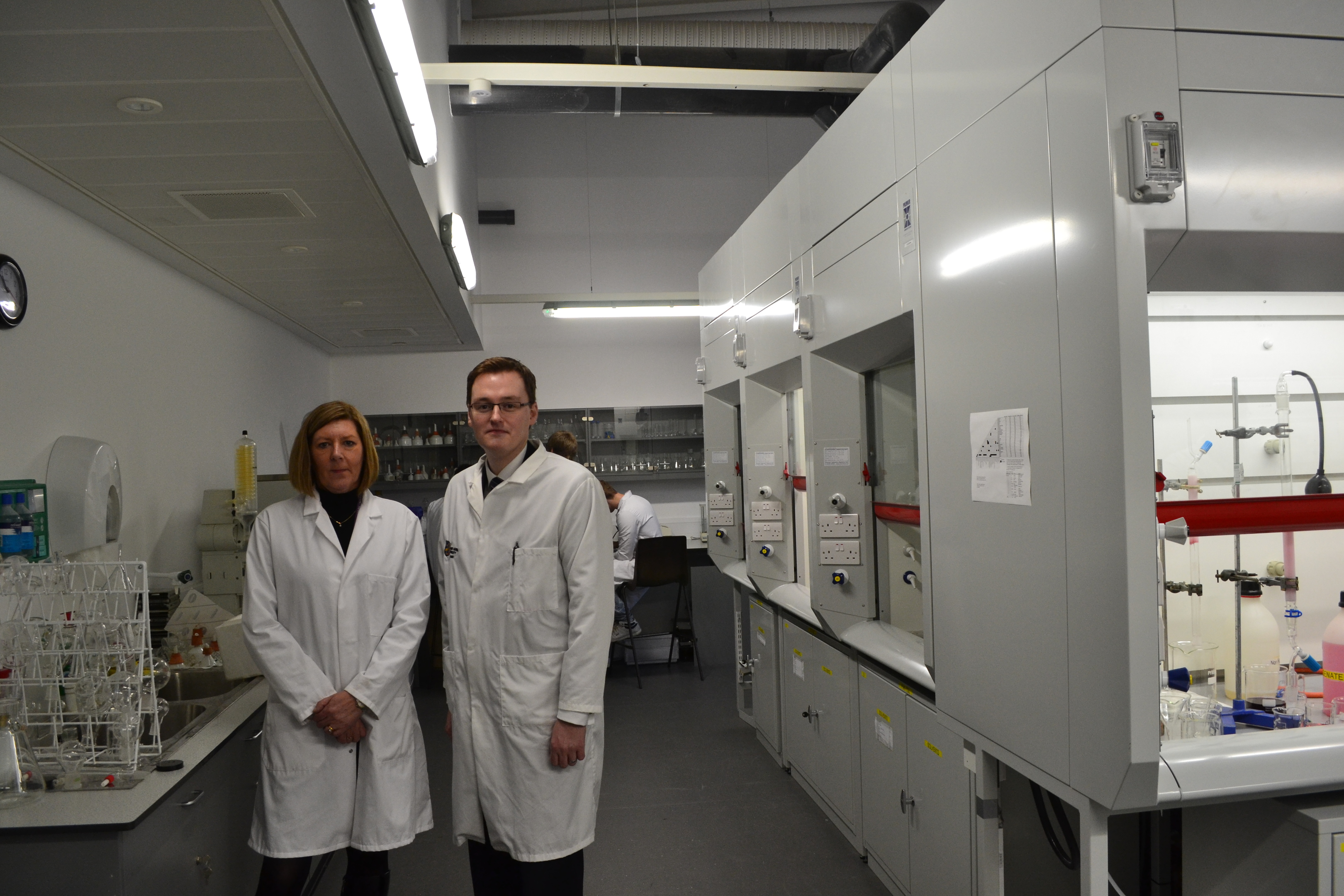 Professor Cherry Wainright, Director of the Institute for Health & Wellbeing at Robert Gordon University and Robbie Ross, counter terrorism security adviser with Police Scotland, at the university labs