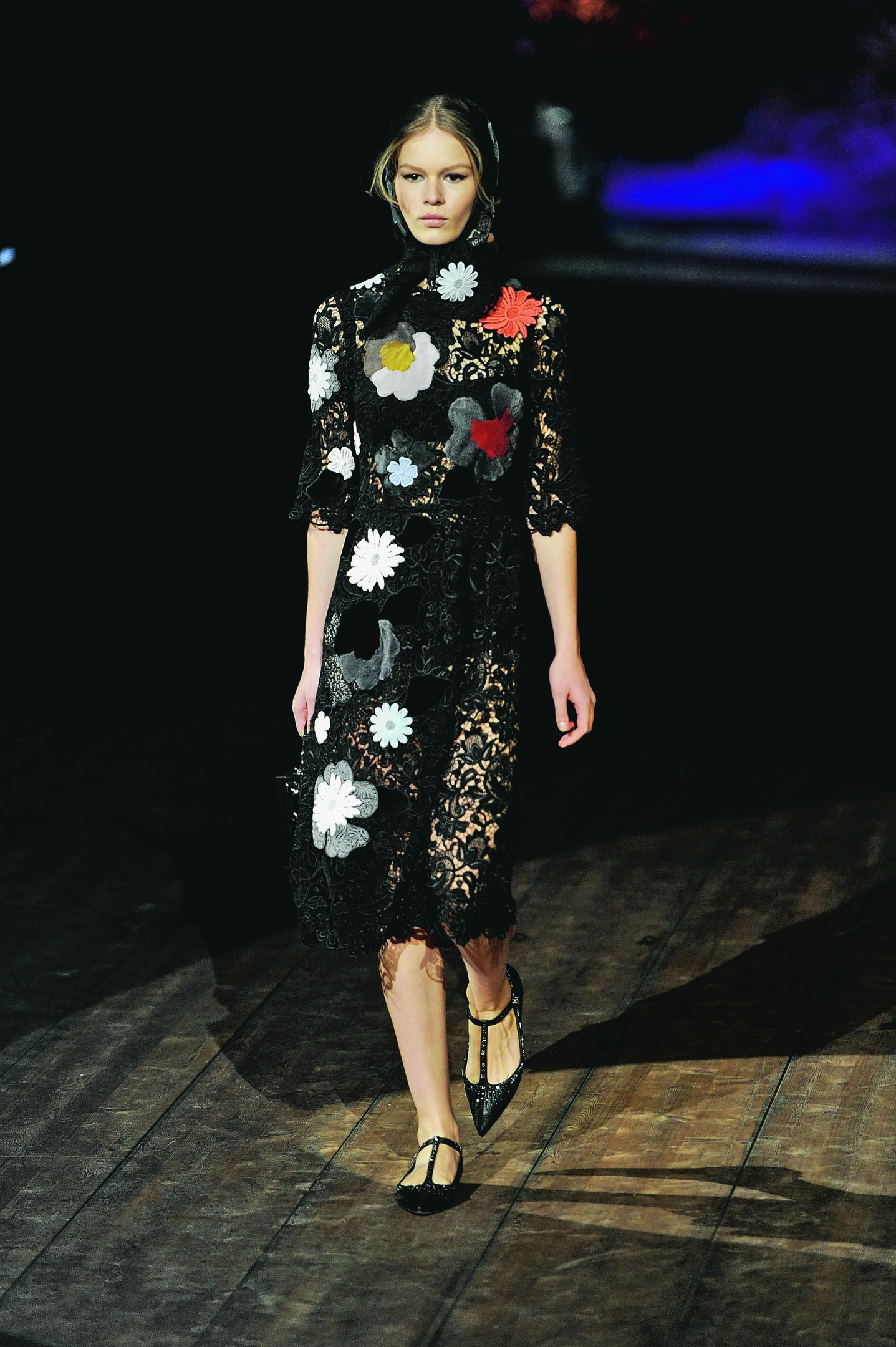 a model wearing Dolce & Gabbana womens Fall-Winter 2014-15 collection, part of the Milan Fashion Week.