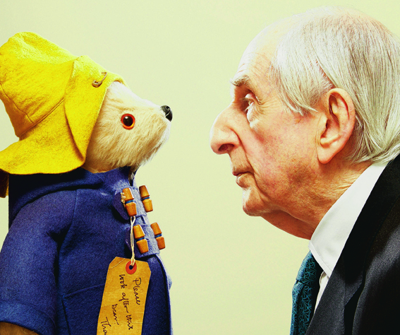 Michael Bond with his beloved creation, Paddington Bear