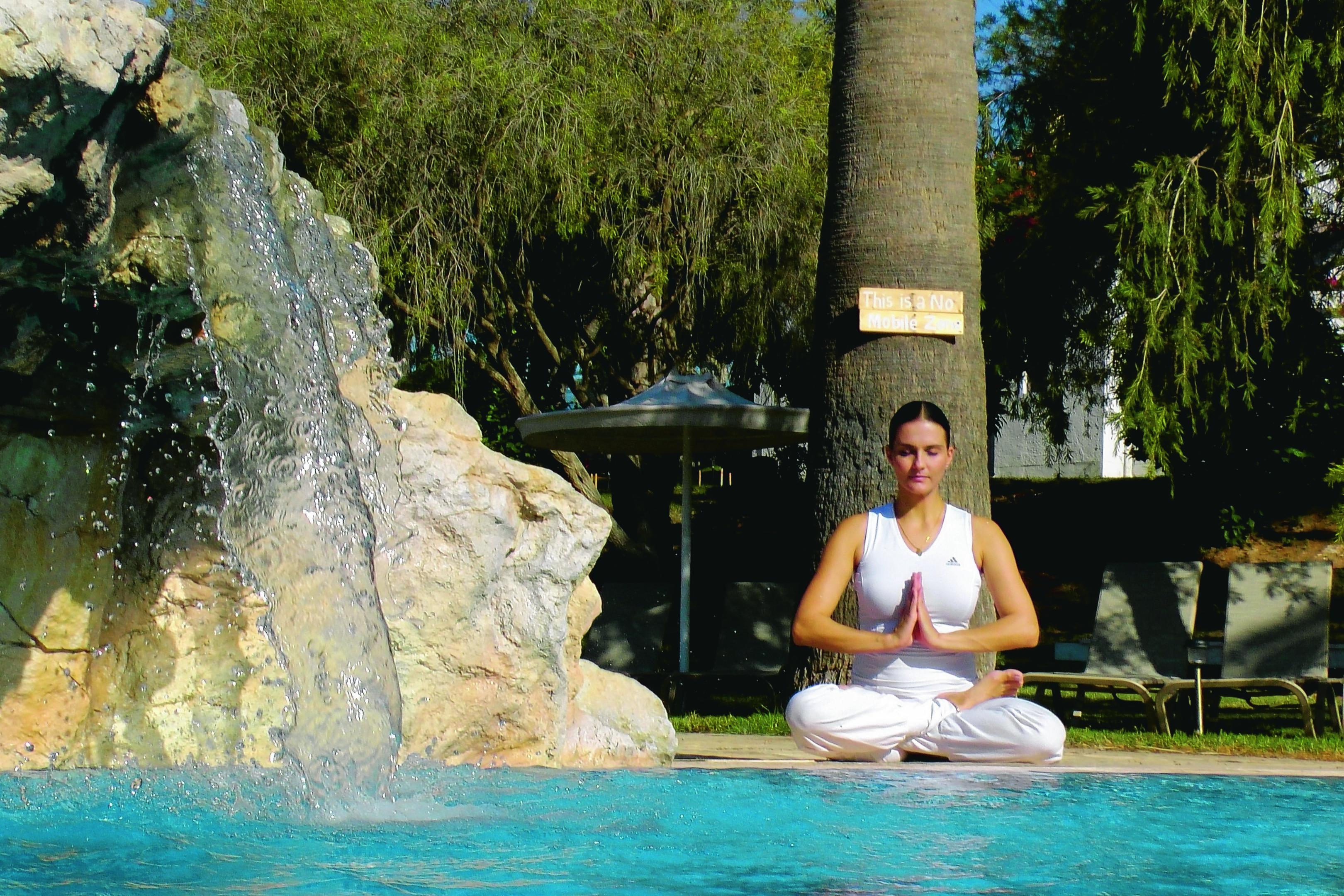 yoga practice at Fonatan Pool at Zening Resort in Latchi, Cyprus