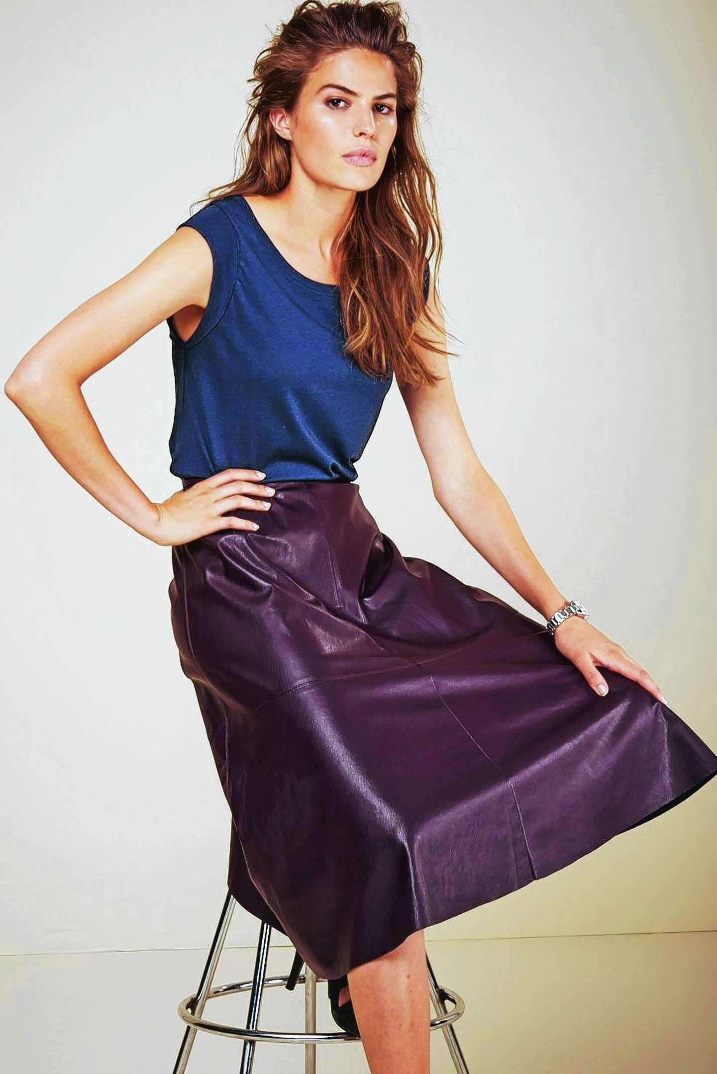 Blend Shell Top and a Berry PU Midi Skirt, Next