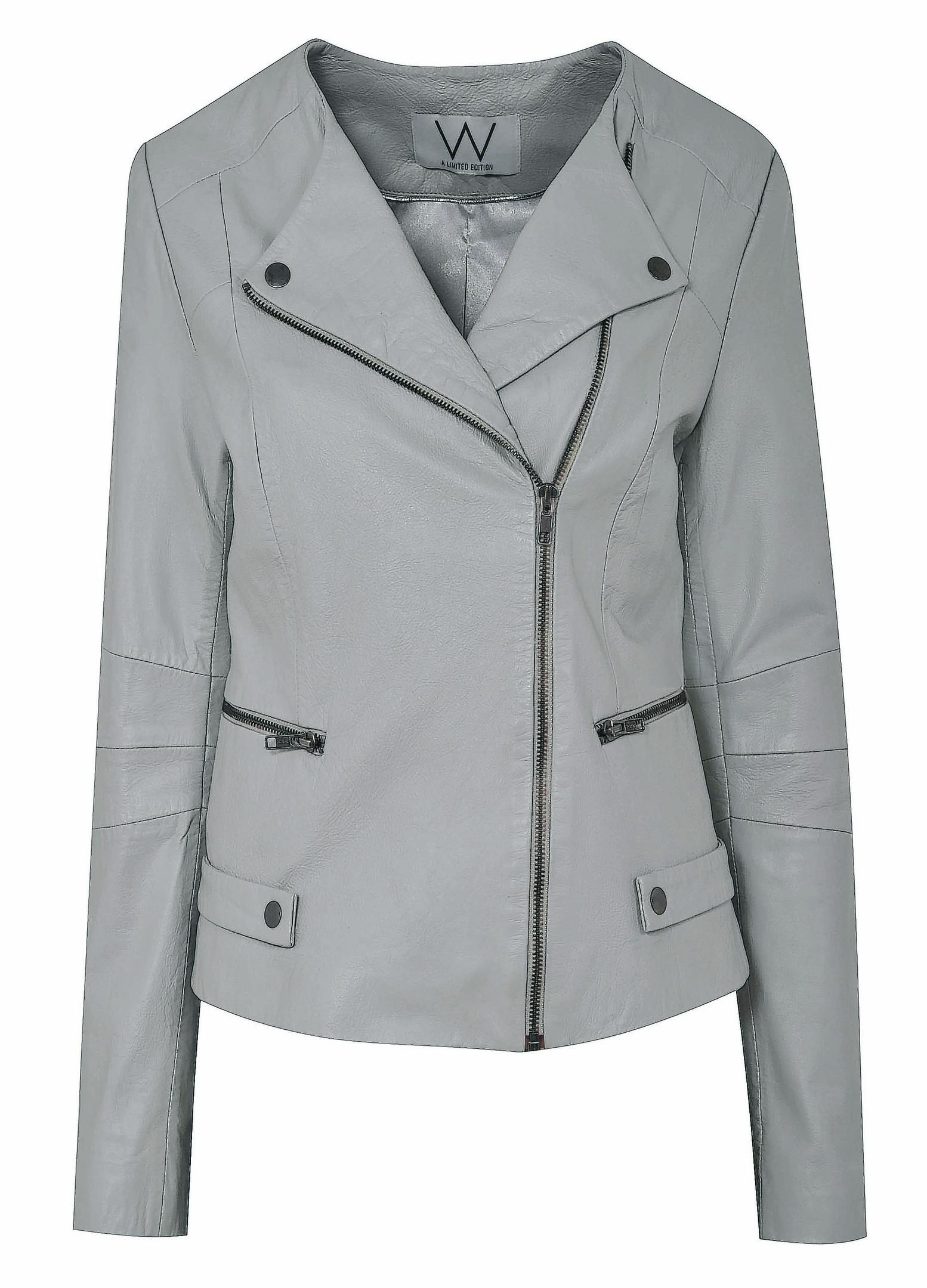 Wallis Grey Collarless Leather Jacket.