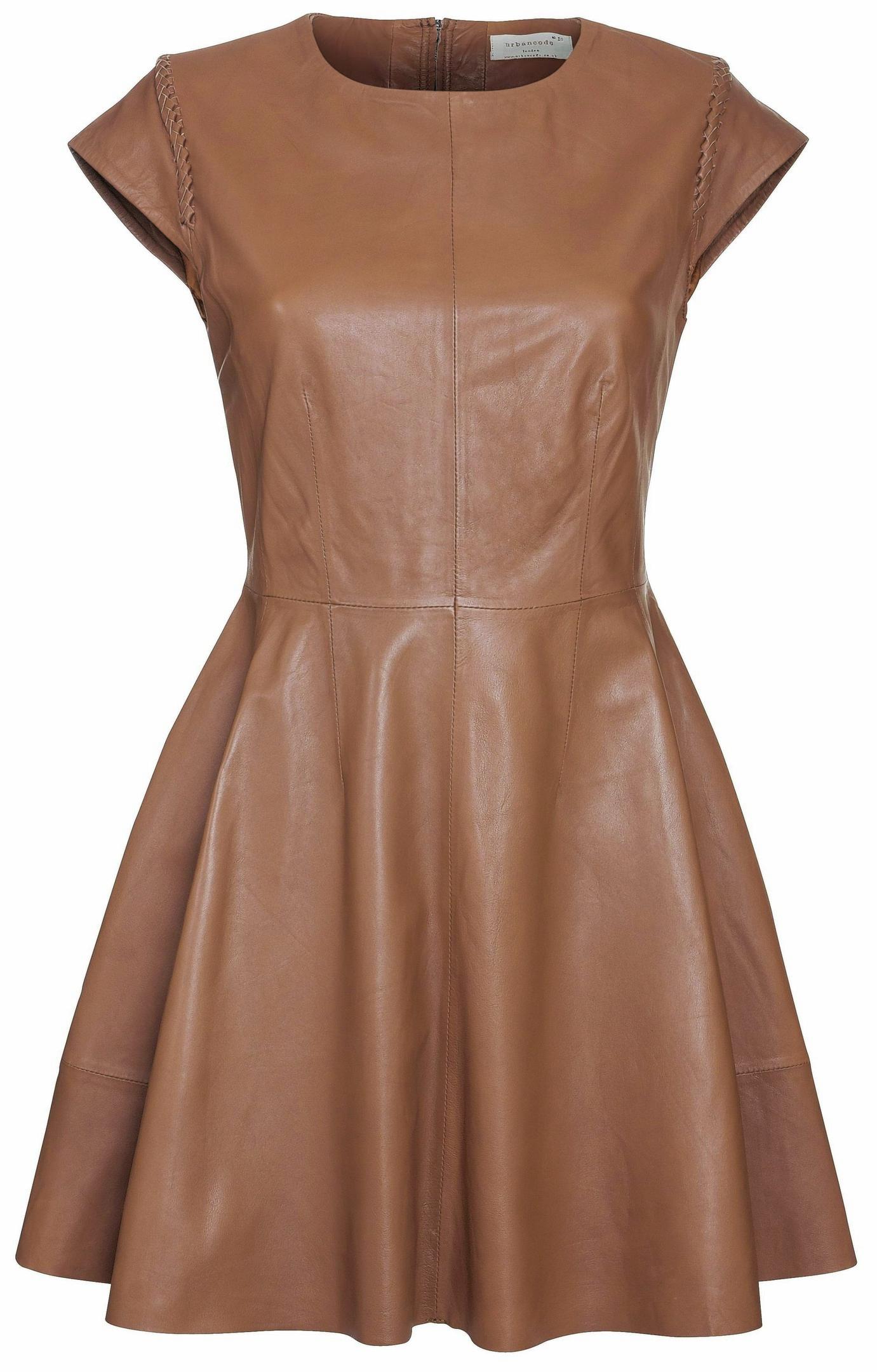 Urbancode Flaire leather dress in Bambi, www.urbancode.co.uk.