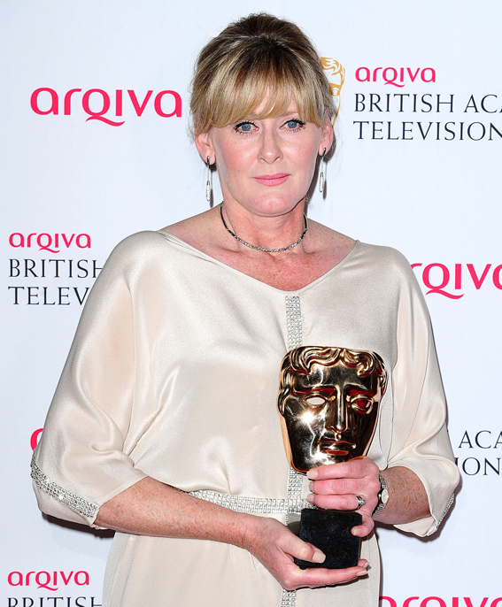 Sarah Lancashire with the Best Supporting Actress award for Last Tango in Halifax