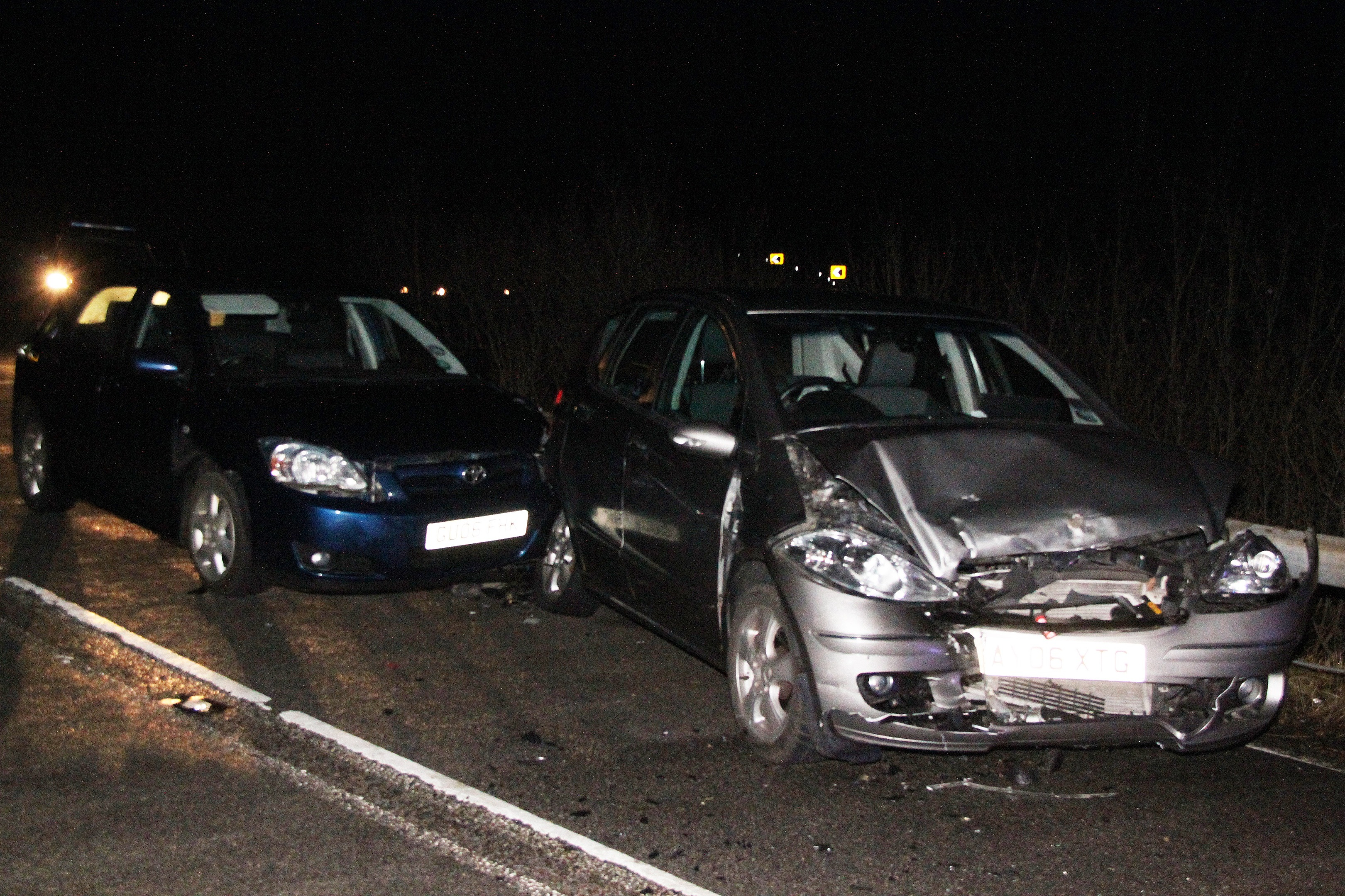 Two cars were involved in the accident but the drivers involved only sustained minor injuries