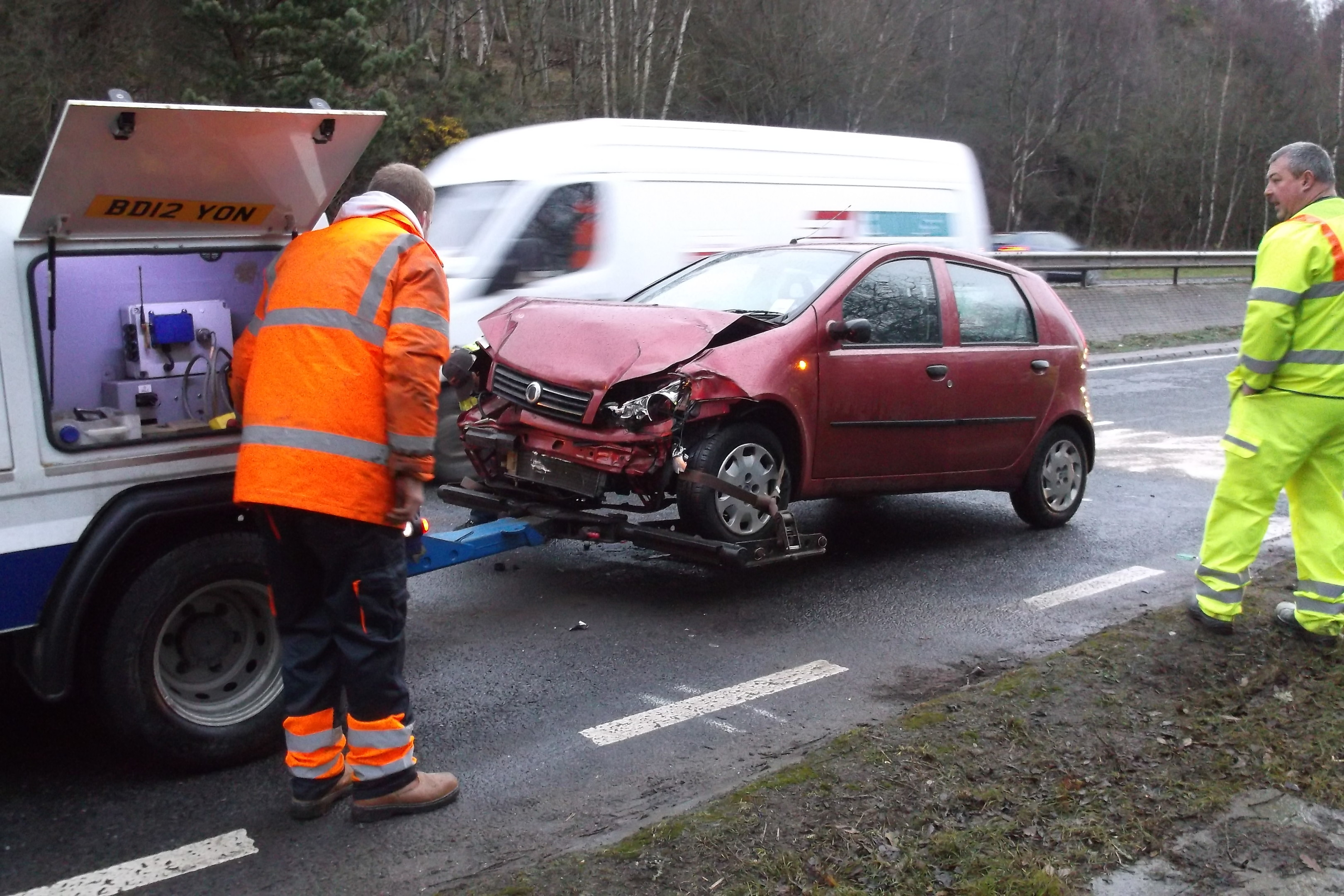A car is cleared from the A9 accident