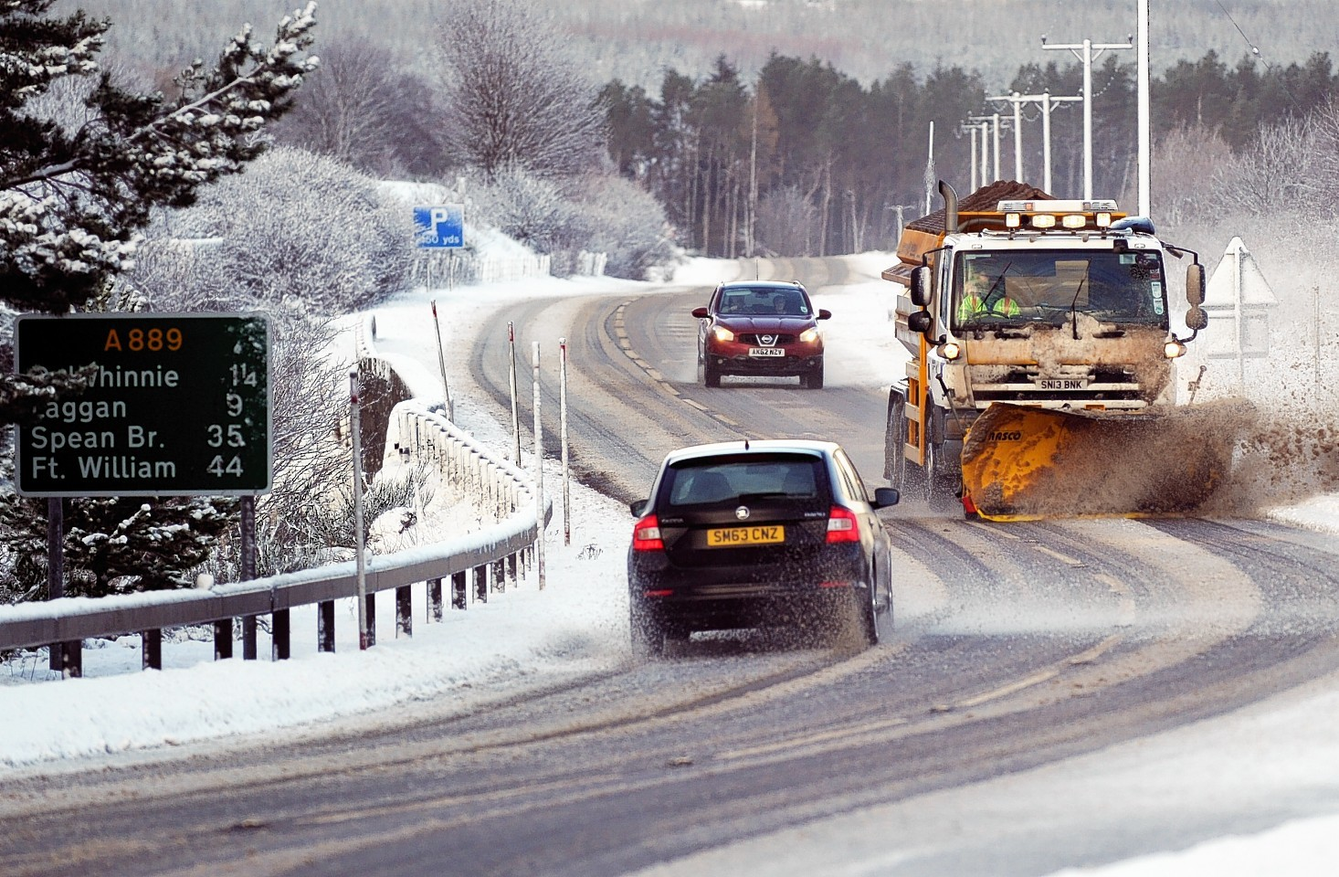 Snow on the A9 at Dalwhinnie