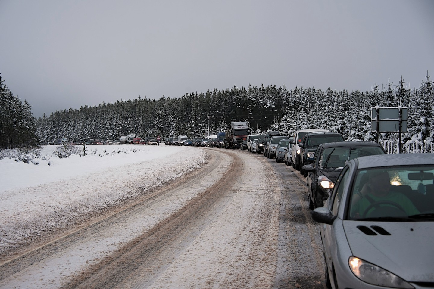 Yesterday the A9 was hit with ice and snow