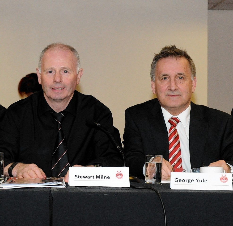 Stewart Milne (left) and George Yule , who is stepping down from his role of vice-chairman at the Dons