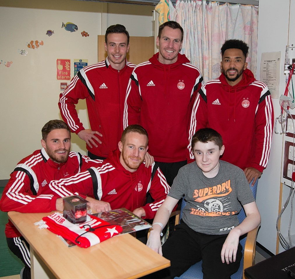 The Aberdeen squad met the children at Aberdeen's Royal Children's Hospital