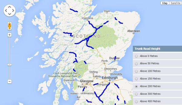 Scotland roads to be hit by snow on Friday