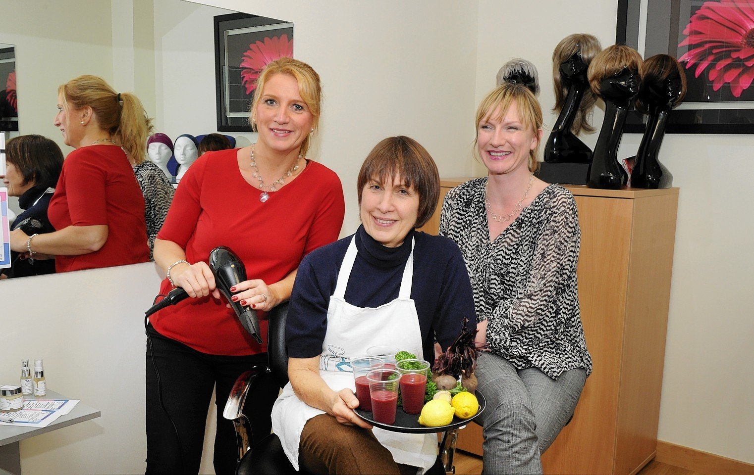 From left to right: Julie Sangster, hairdresser and wig specialist, Nutritionist Cathy Clark and  Service Manager Lucy Whiteman.
