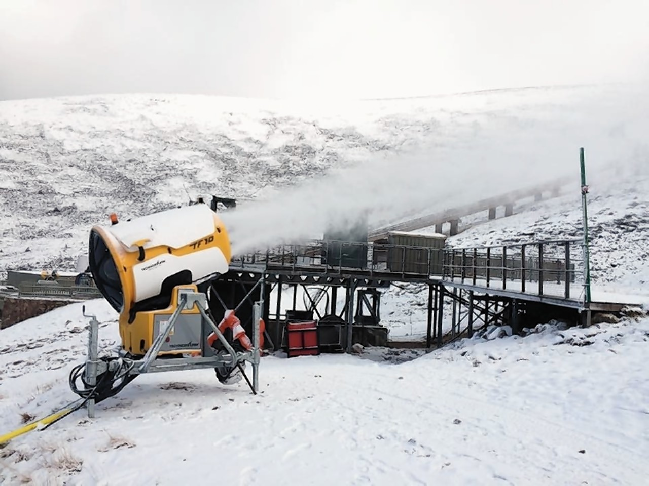 One of the CairnGorm Mountain snow canons helping to boost snow cover on the mountain
