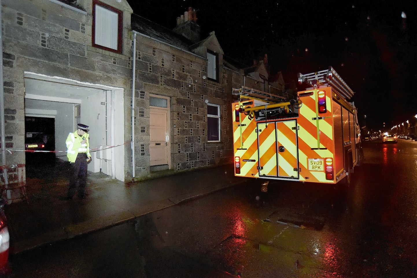 Fire crews attend the incident in Charlotte Street, Fraserburgh