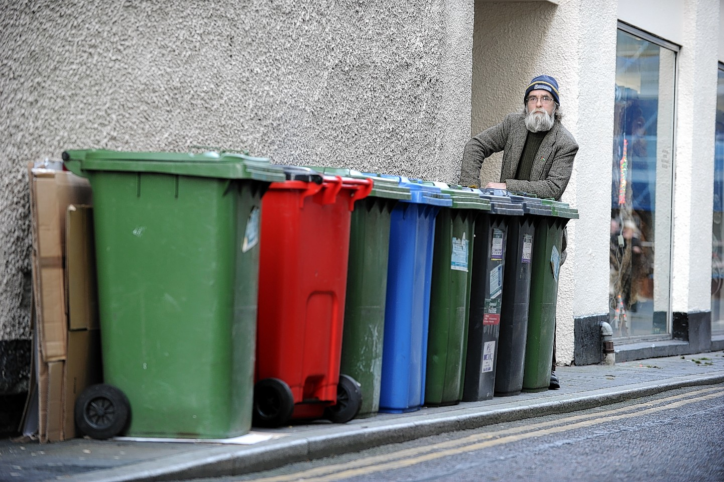 Donnie Kerr with some of the offending bins