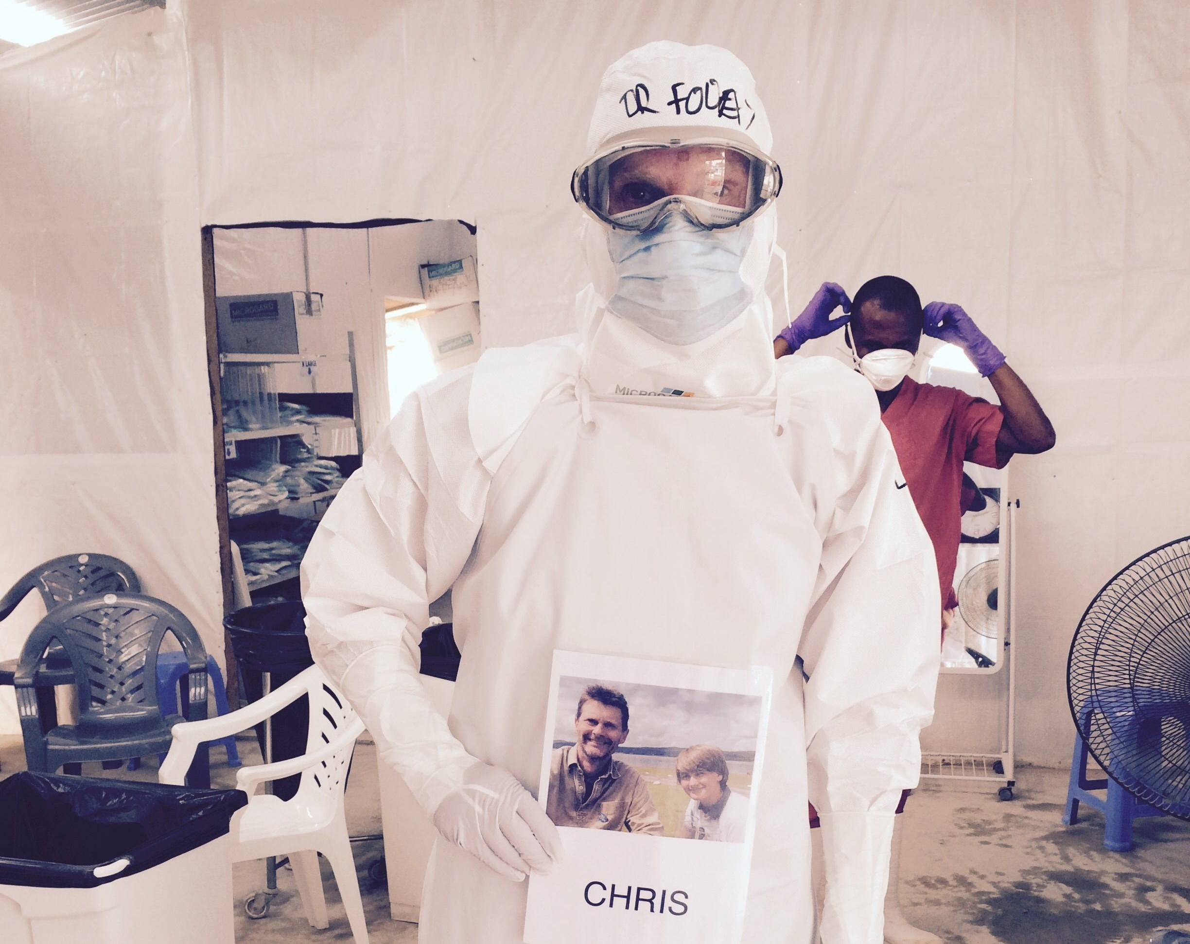 Dr Mair in his protective clothing