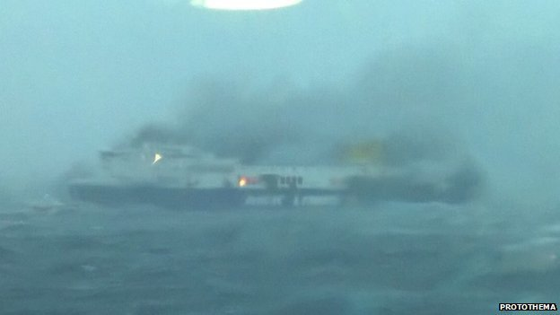 The  Italian-flagged Norman Atlantic on fire