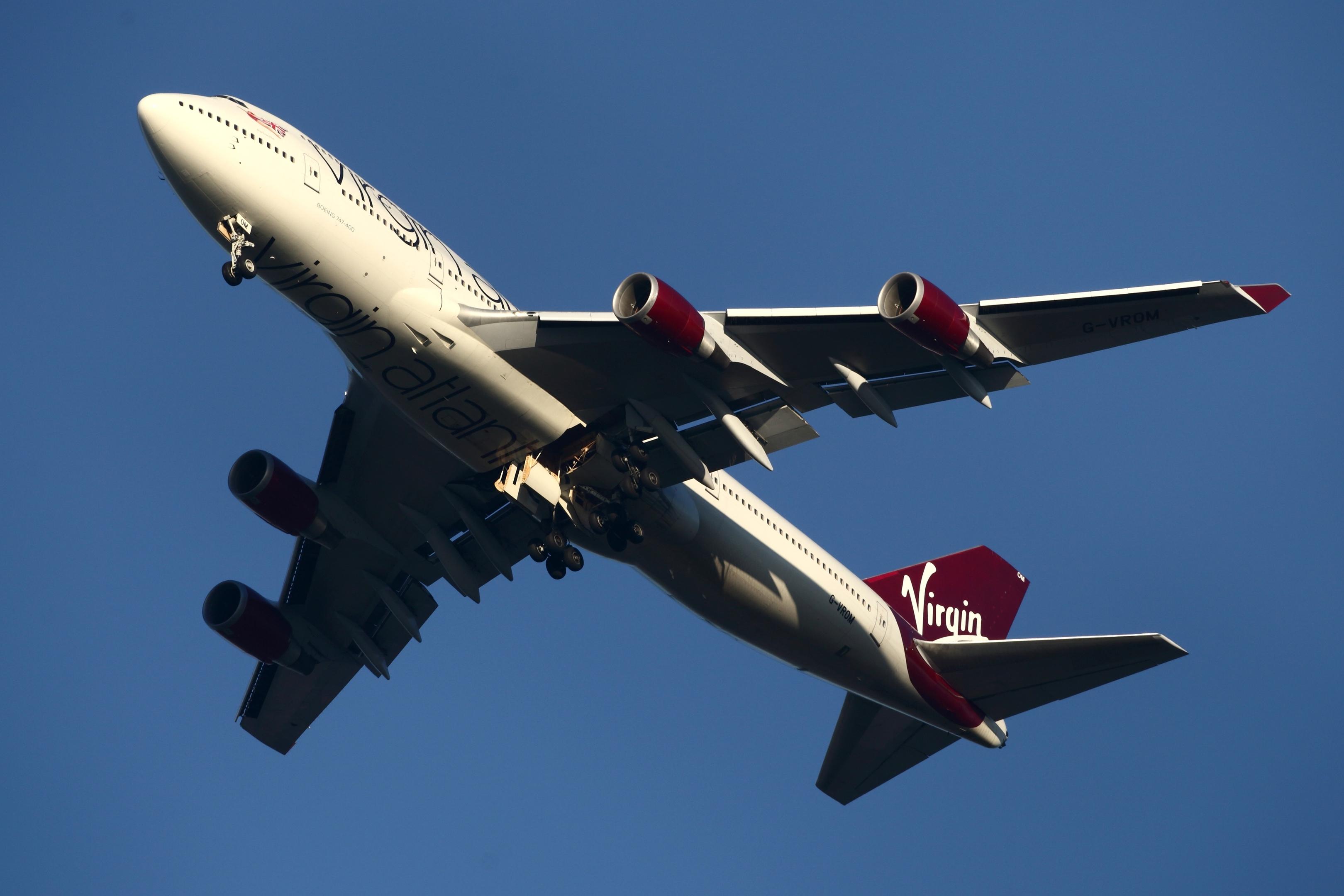 The Virgin Atlantic plane circled over the UK before landing