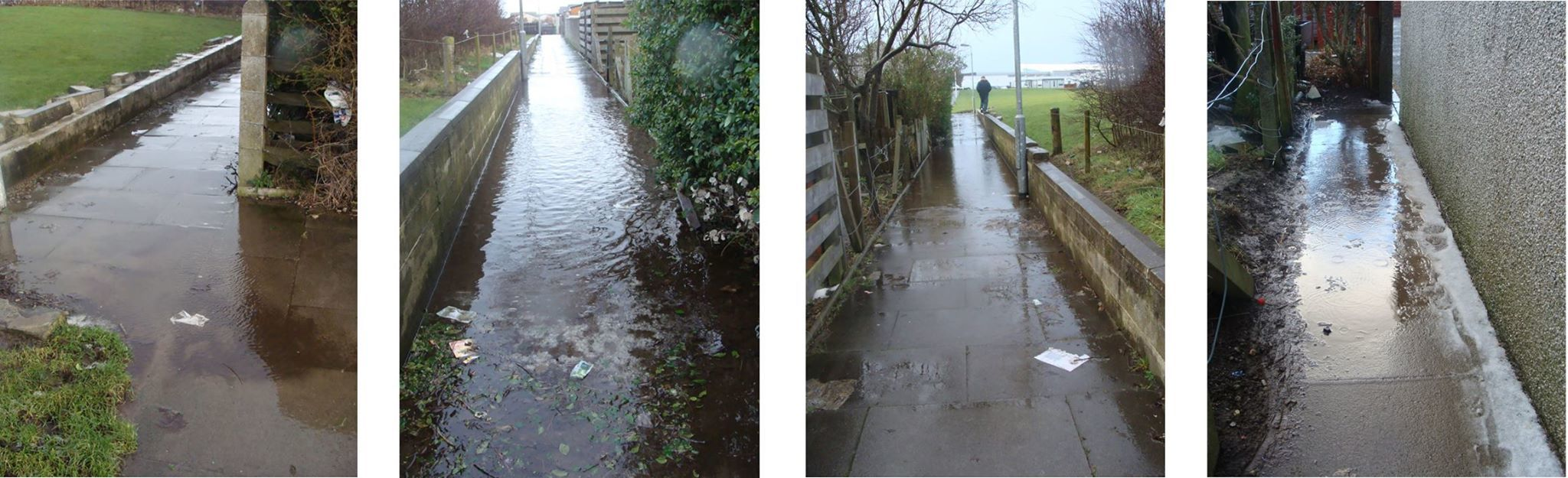 Flooded pathways near Lochpots Primary