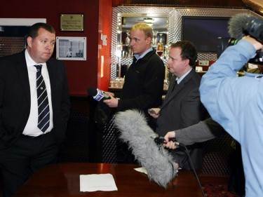 Fomer Dundee chief exec Harry McLean delivers the statement at Dens Park on the resignation of Mr Melville