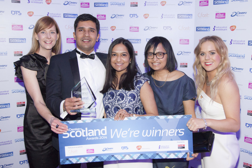 Best NHS Practice winner Hiranya Fadia with staff at the Dentistry Scotland Awards 2014