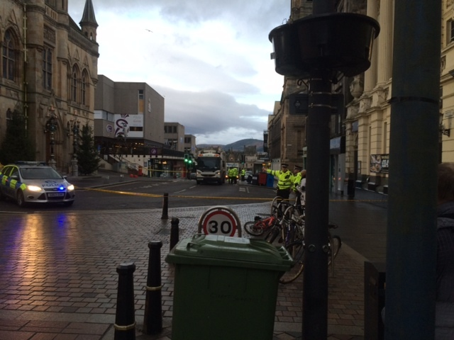 The scene of the accident in Inverness city centre